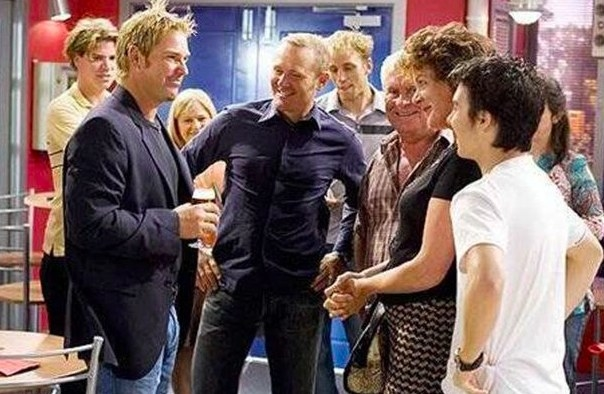 Shane Warne on the set of Neighbours