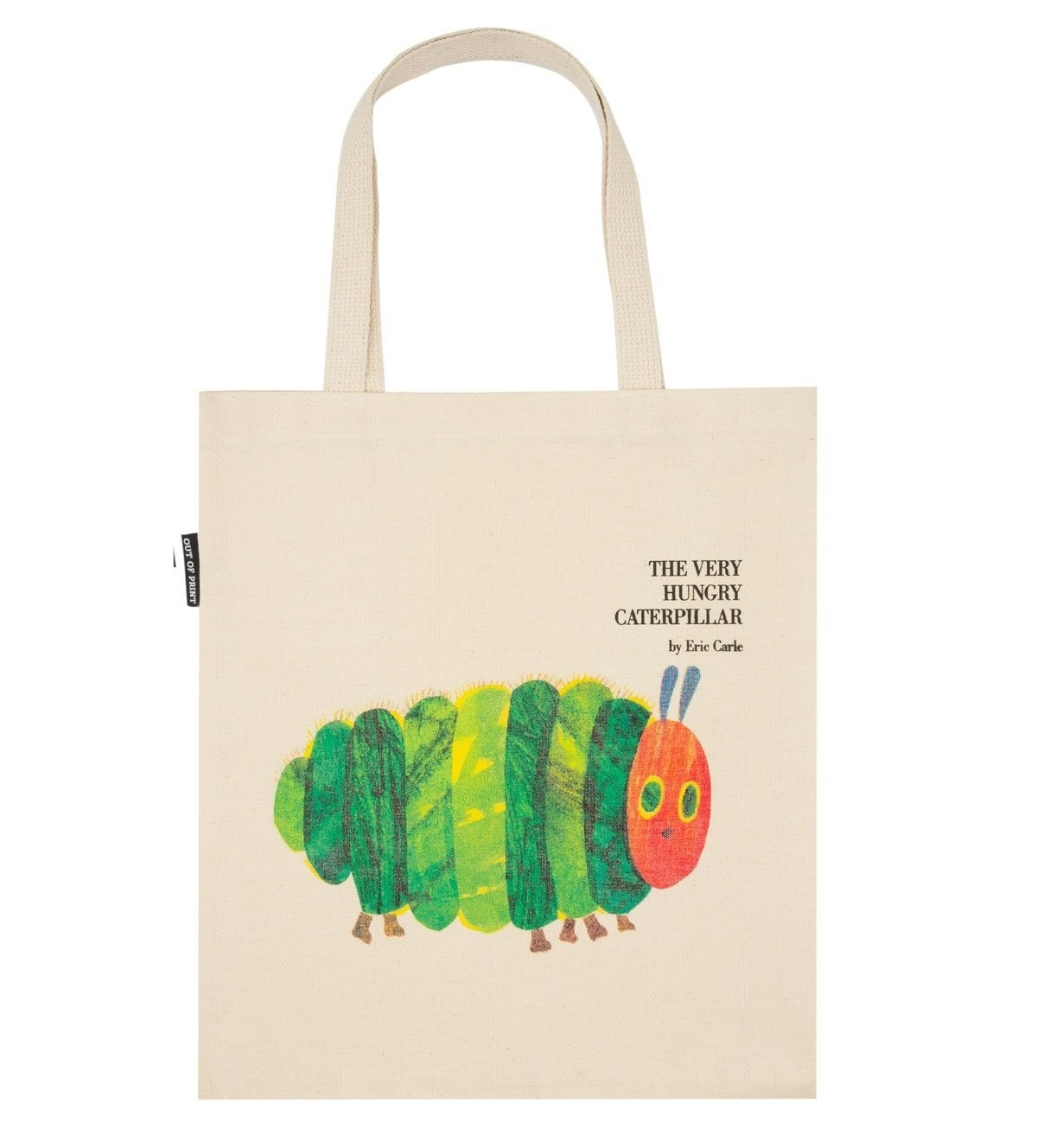 The canvas tote, which has the cover art printed on the front