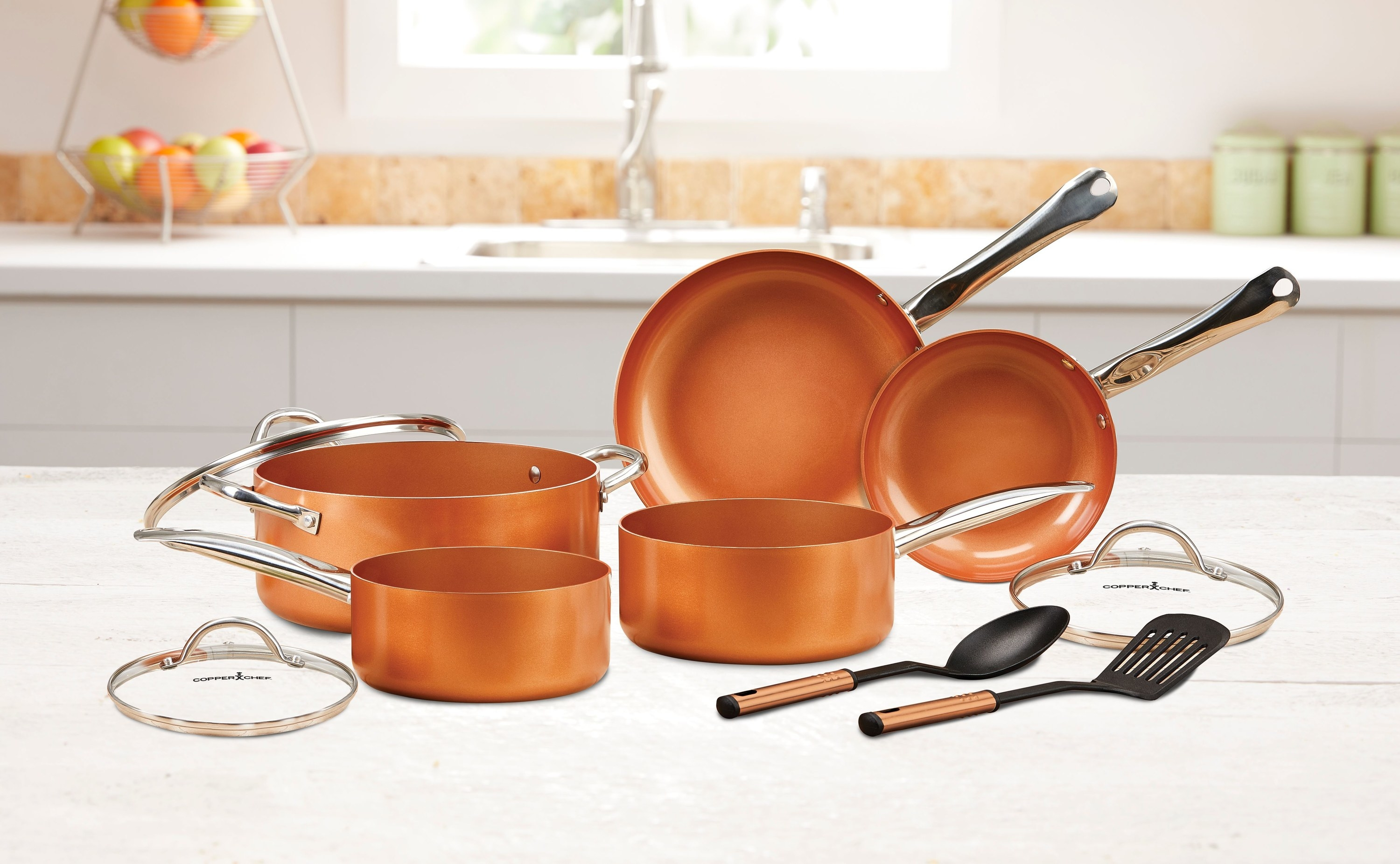 the pan set in copper with silver handles