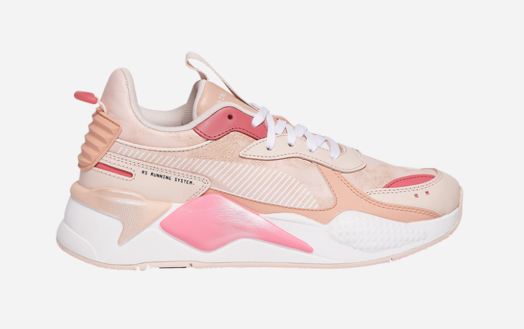 puma rs-x sneakers in various shades of pink and blush