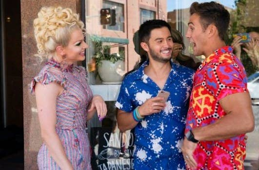 Courtney Act appears with David and Aaron on Neighbours
