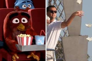 Side by side image of an animated character at the movies next to a man throwing money away