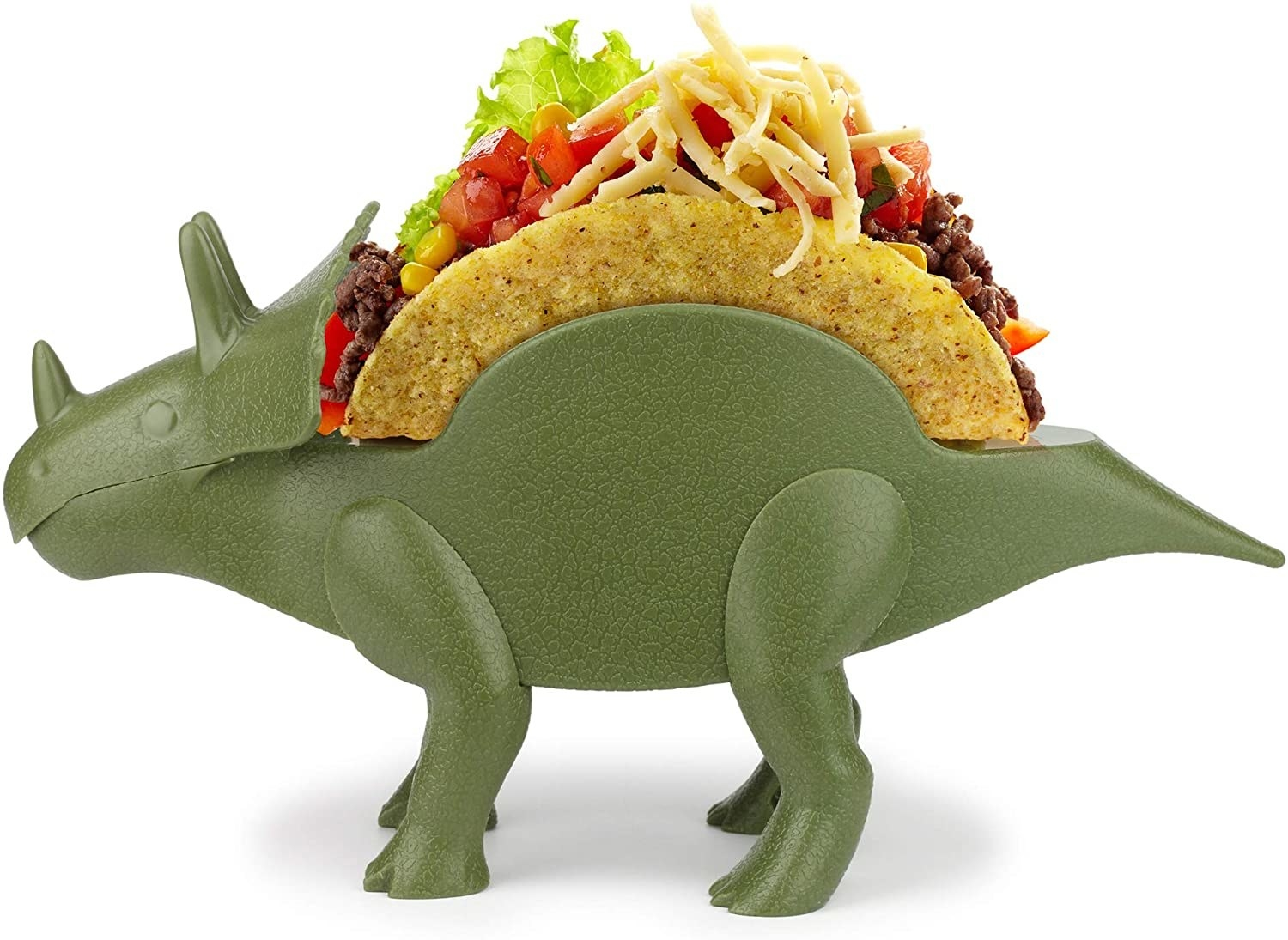 green triceratops taco holder with tacos inside