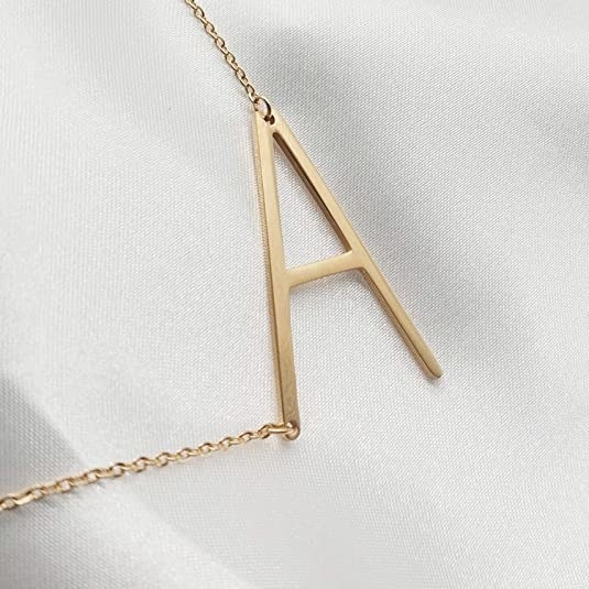 gold-plated necklace with the letter A