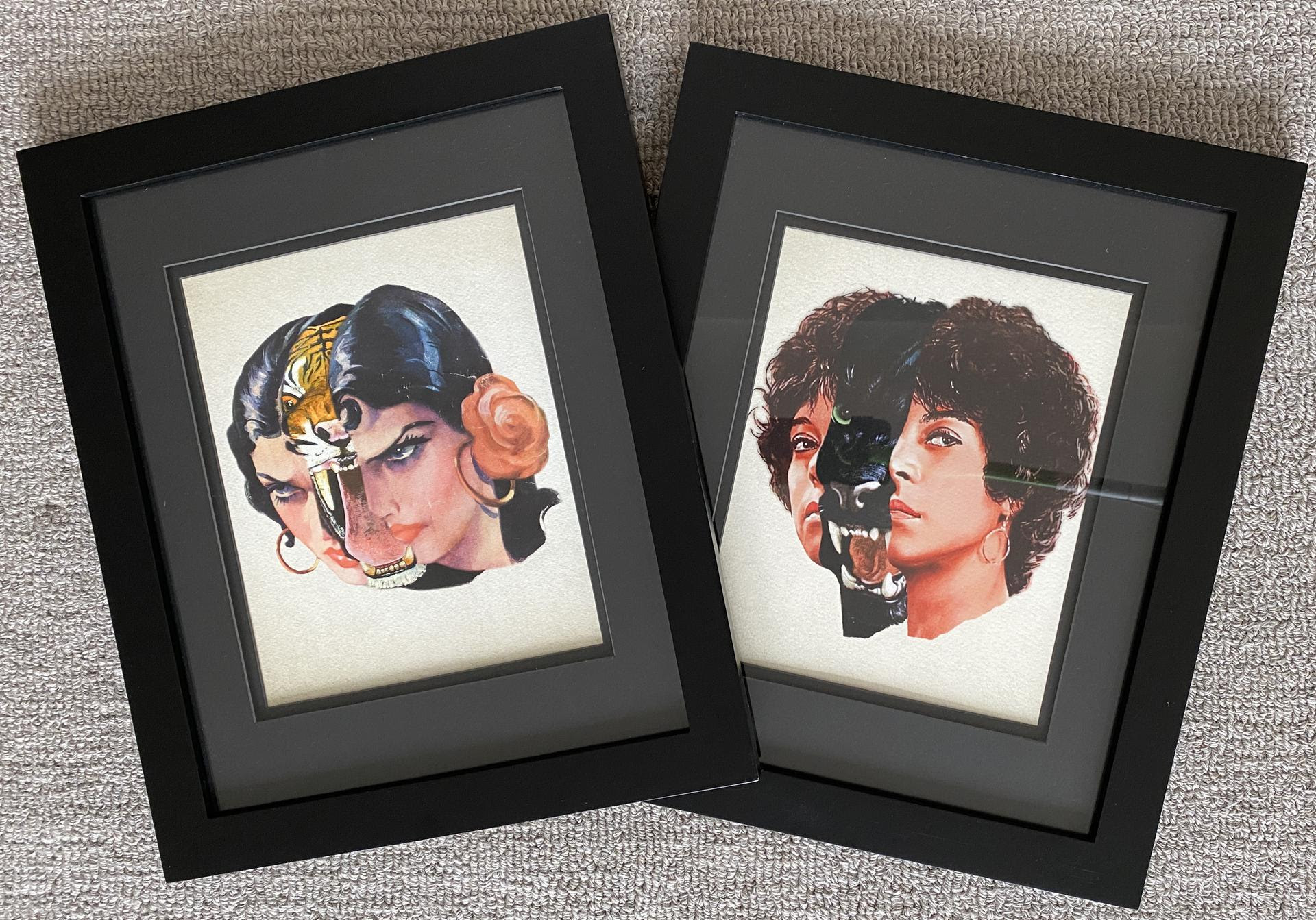 framed collage prints of a woman's head divided by a tiger's and a woman's head divided by a puma's