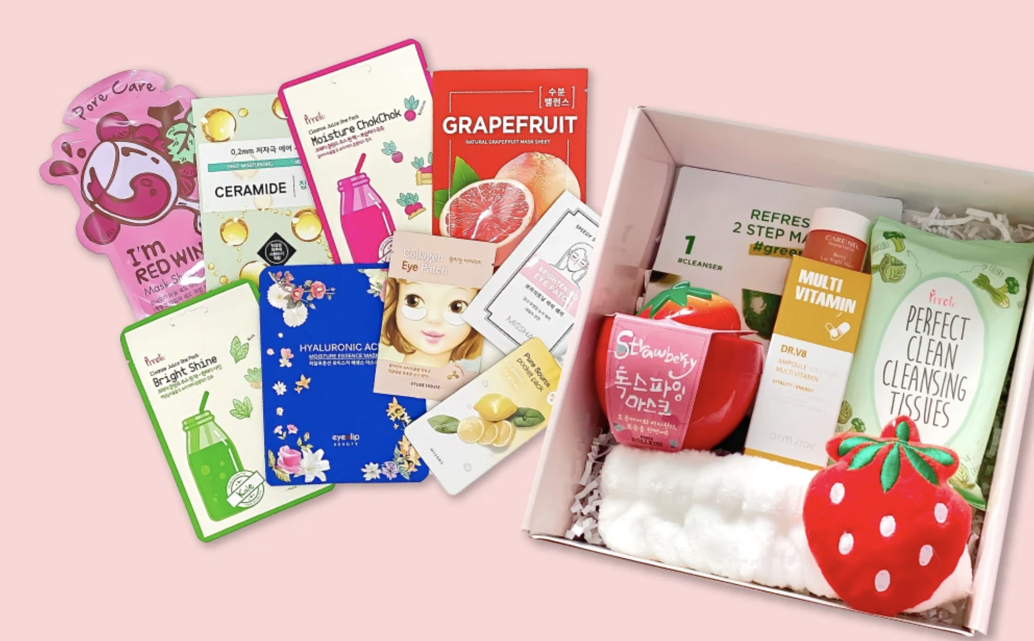 A collection of Korean skincare packages against a pink background