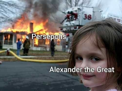 The little girl is Alexander the Great, and the burning house is Persepolis