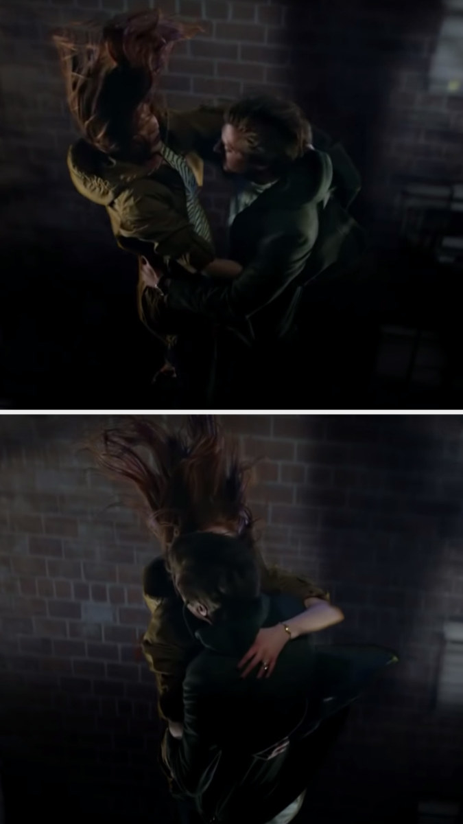 Amy and Rory hug mid-jump