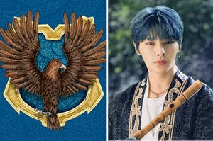 Ravenclaw crest and an image of IN from stray kids