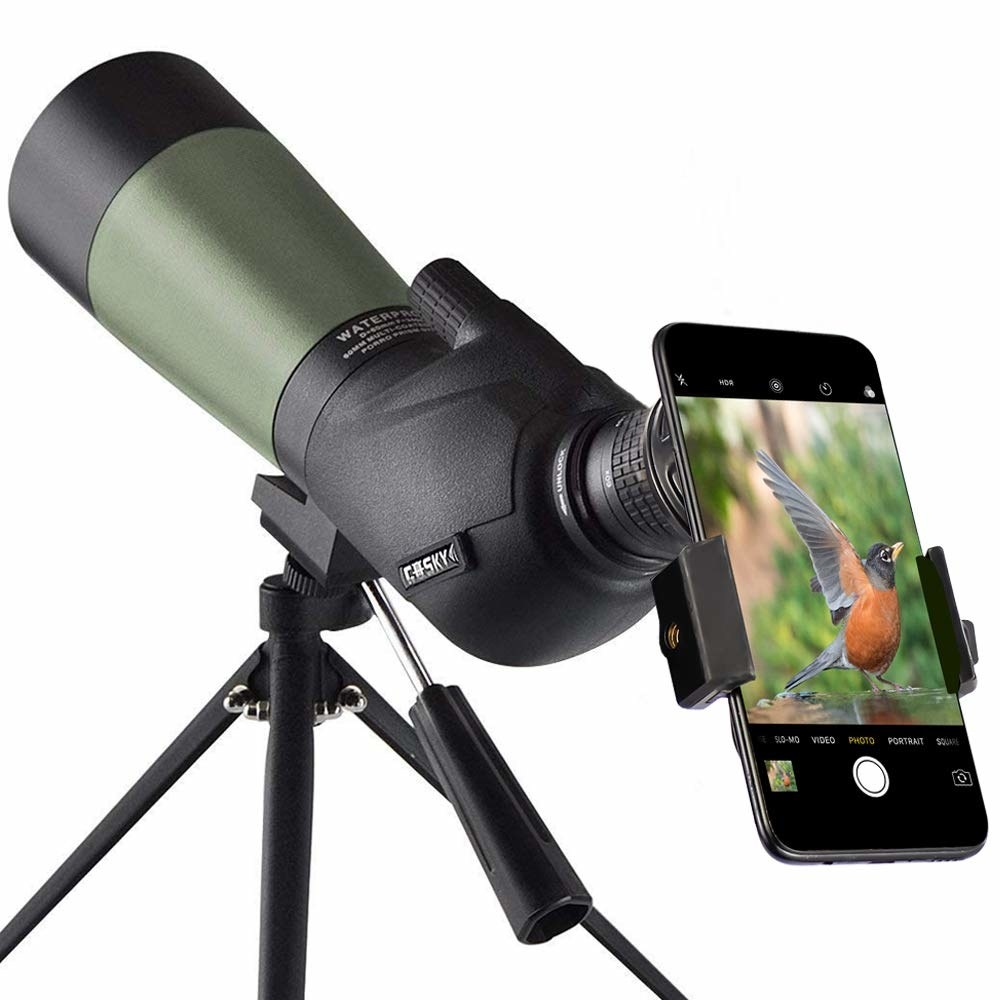Phone attached to the spotting scope.