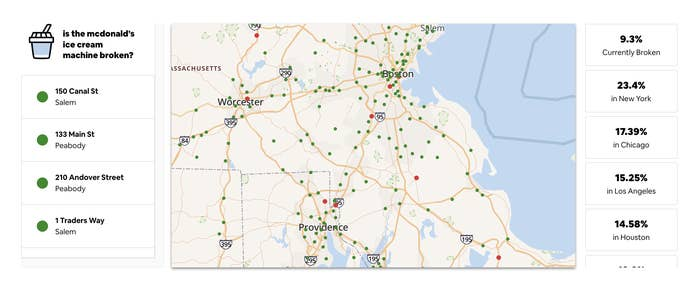 map showing McDonald's locations and if the machine is down, with percentages of how many machines are down in different places
