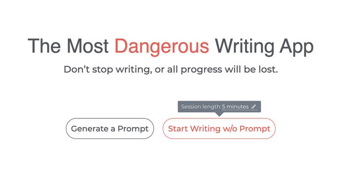 homepage for the app, with the option to generate a prompt or write without one