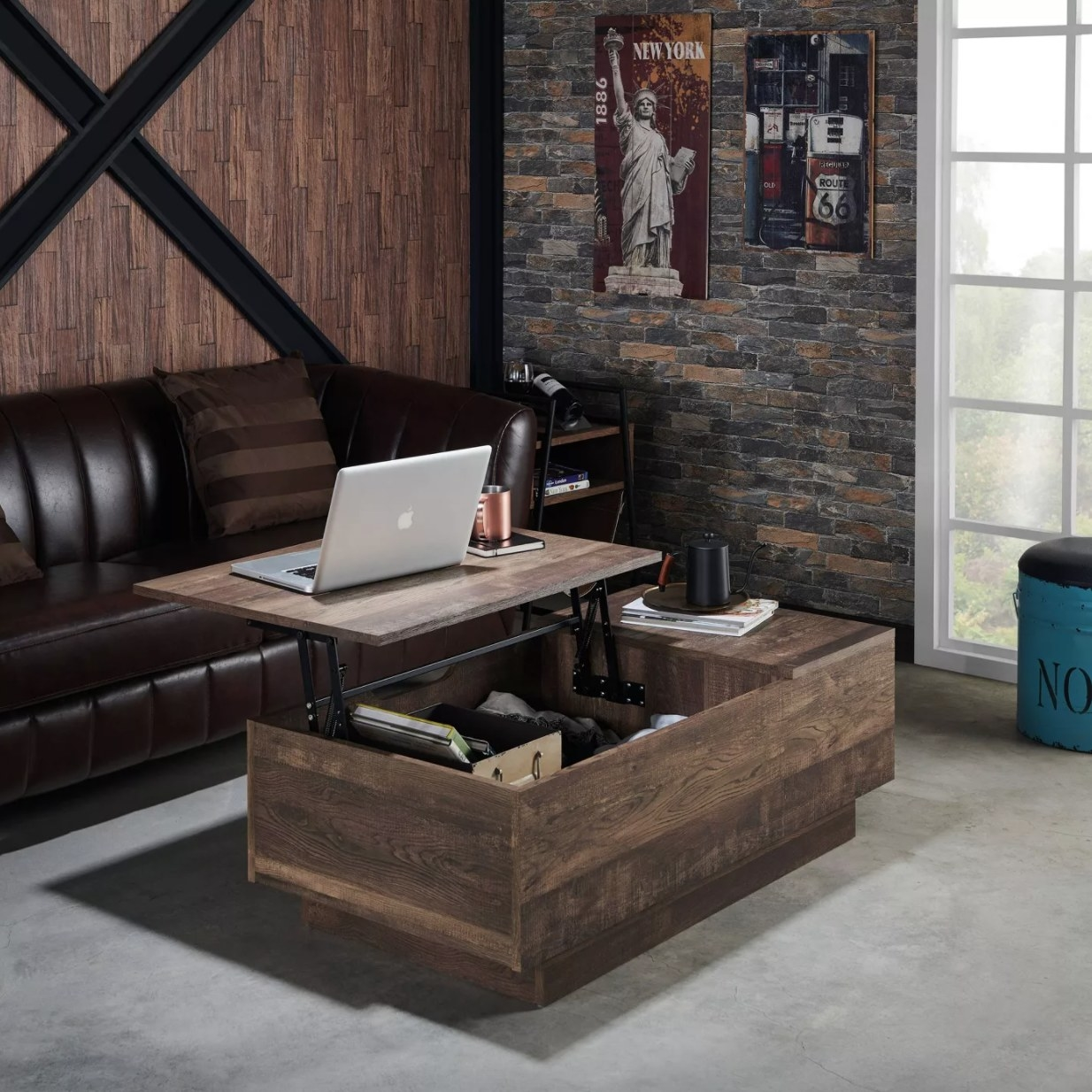 A dark brown wooden coffee table with lift-top and internal storage
