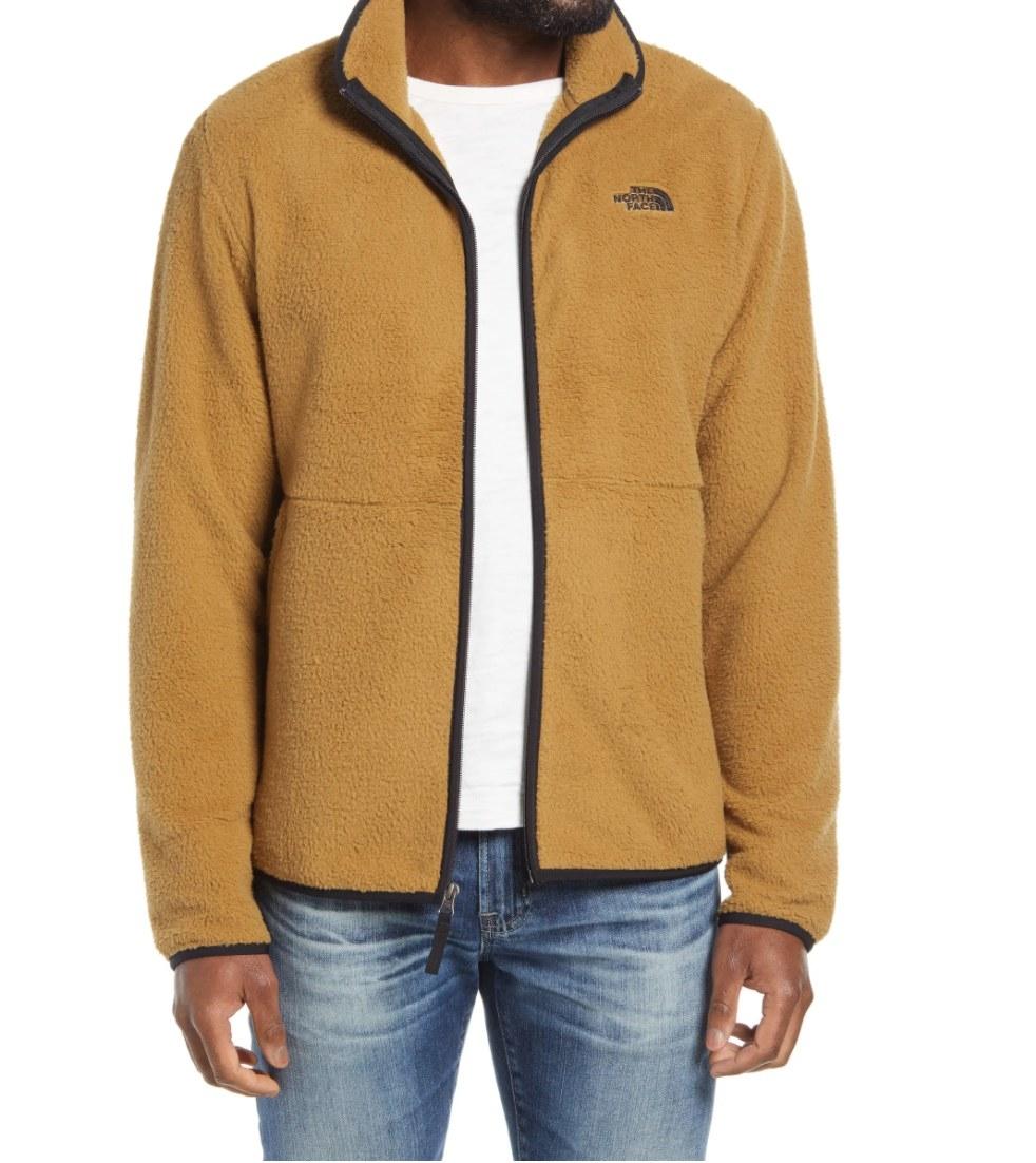 The North Face dunraven fleece jacket in British khaki/ tnf black