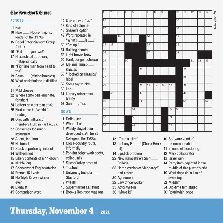 Example of calendar day with crossword