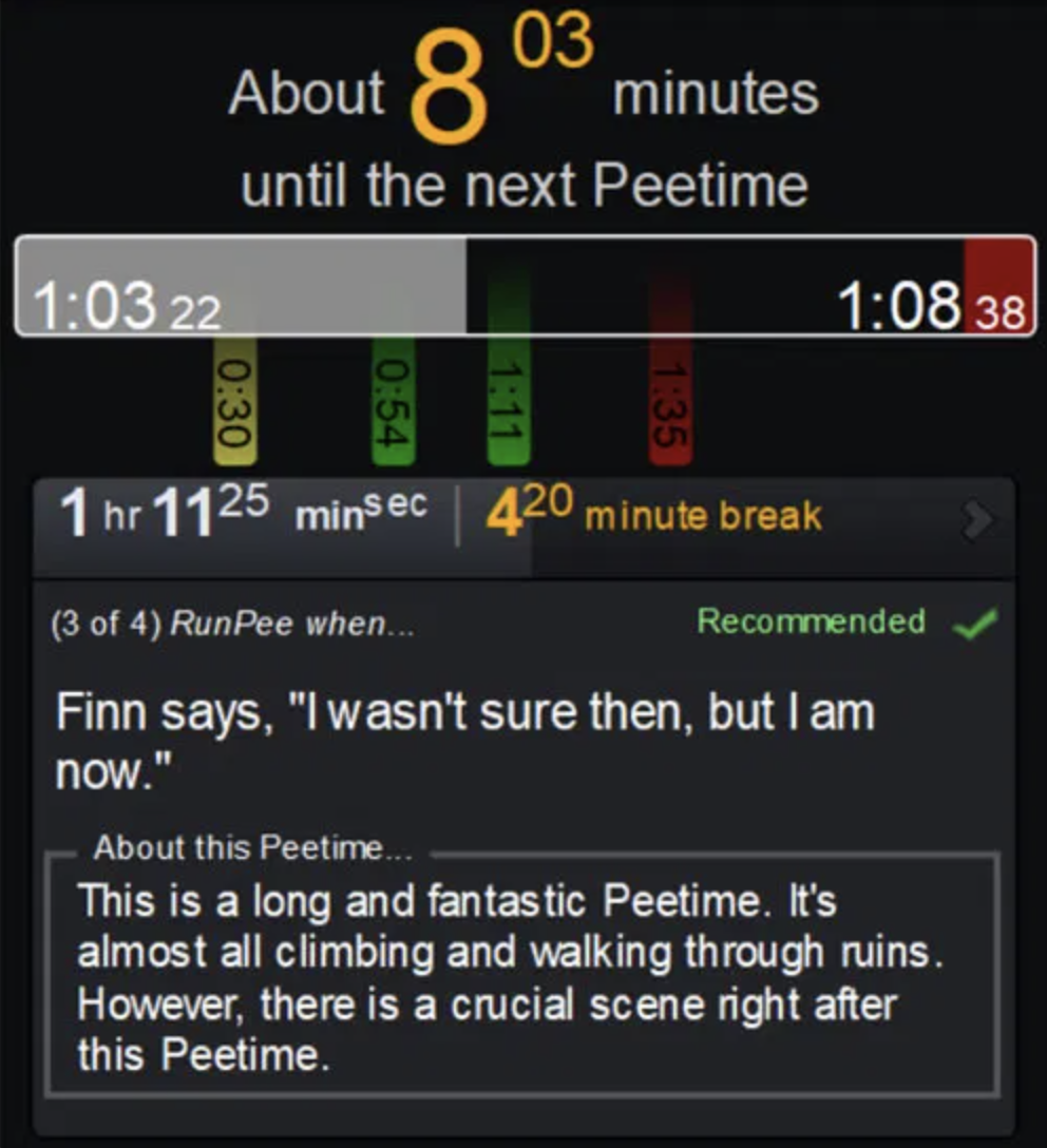 screenshot of an example page for a Star Wars film, telling you that the next pee time is 8 minutes away and describing what happens during that part of the film