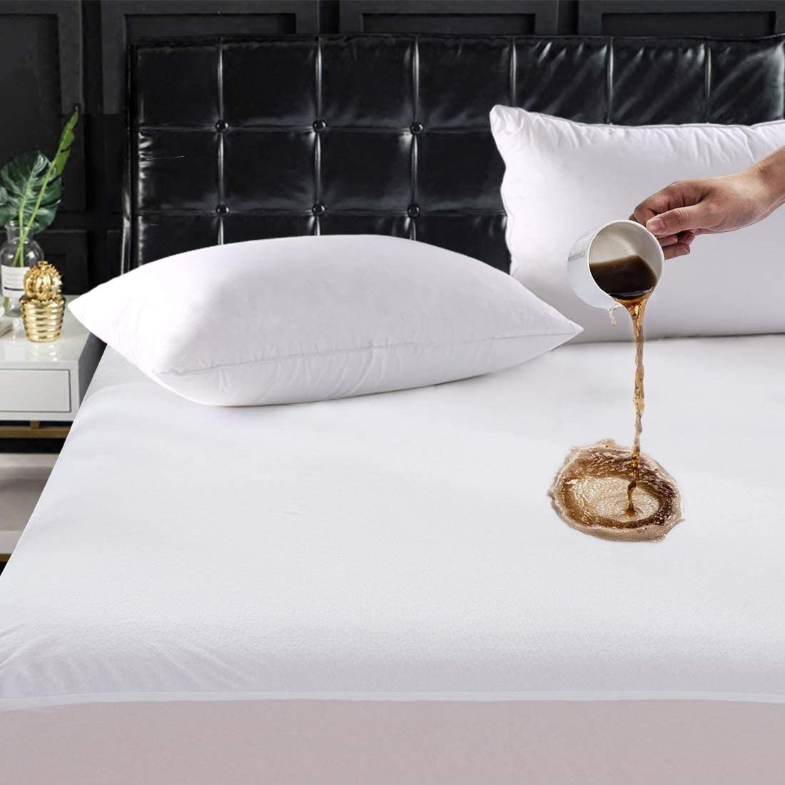 model pouring a cup of coffee on mattress protector