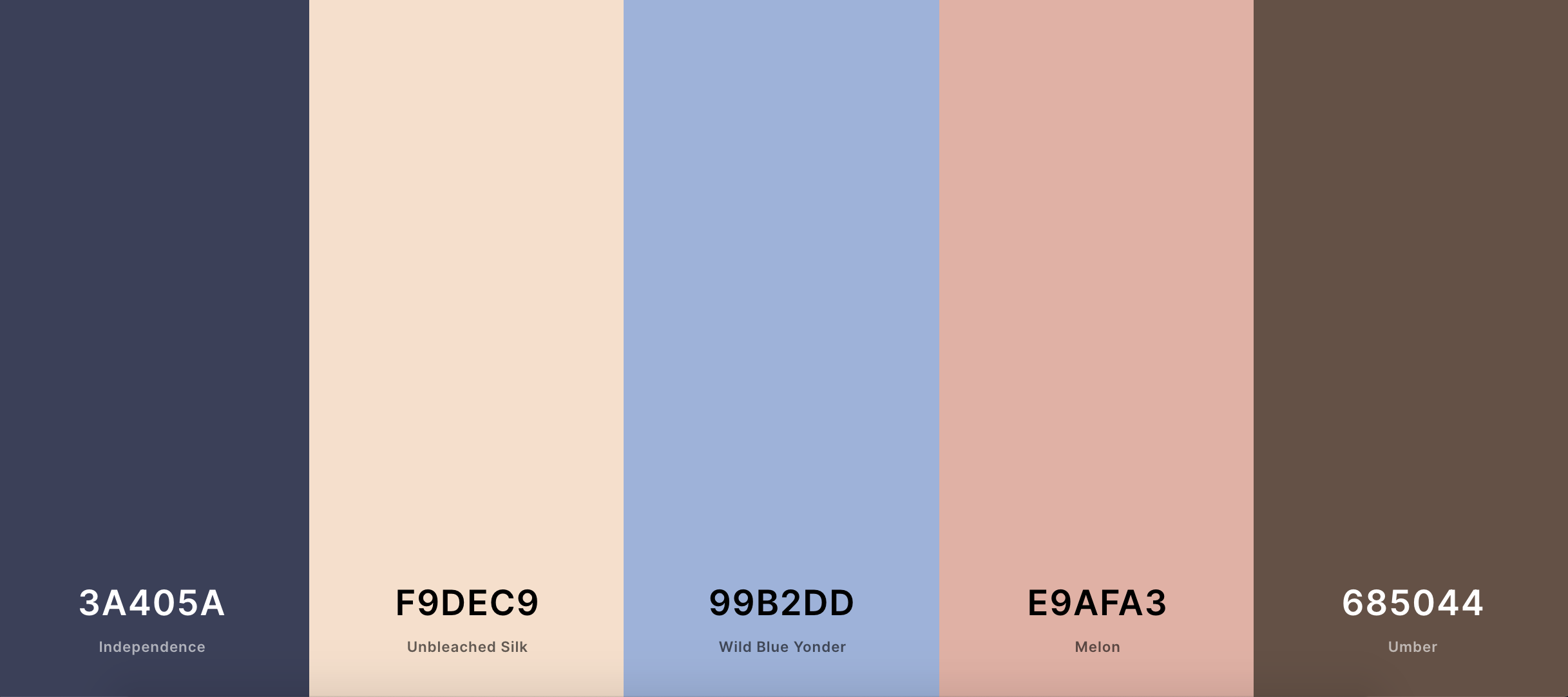 five different colors with names and labels next to each other