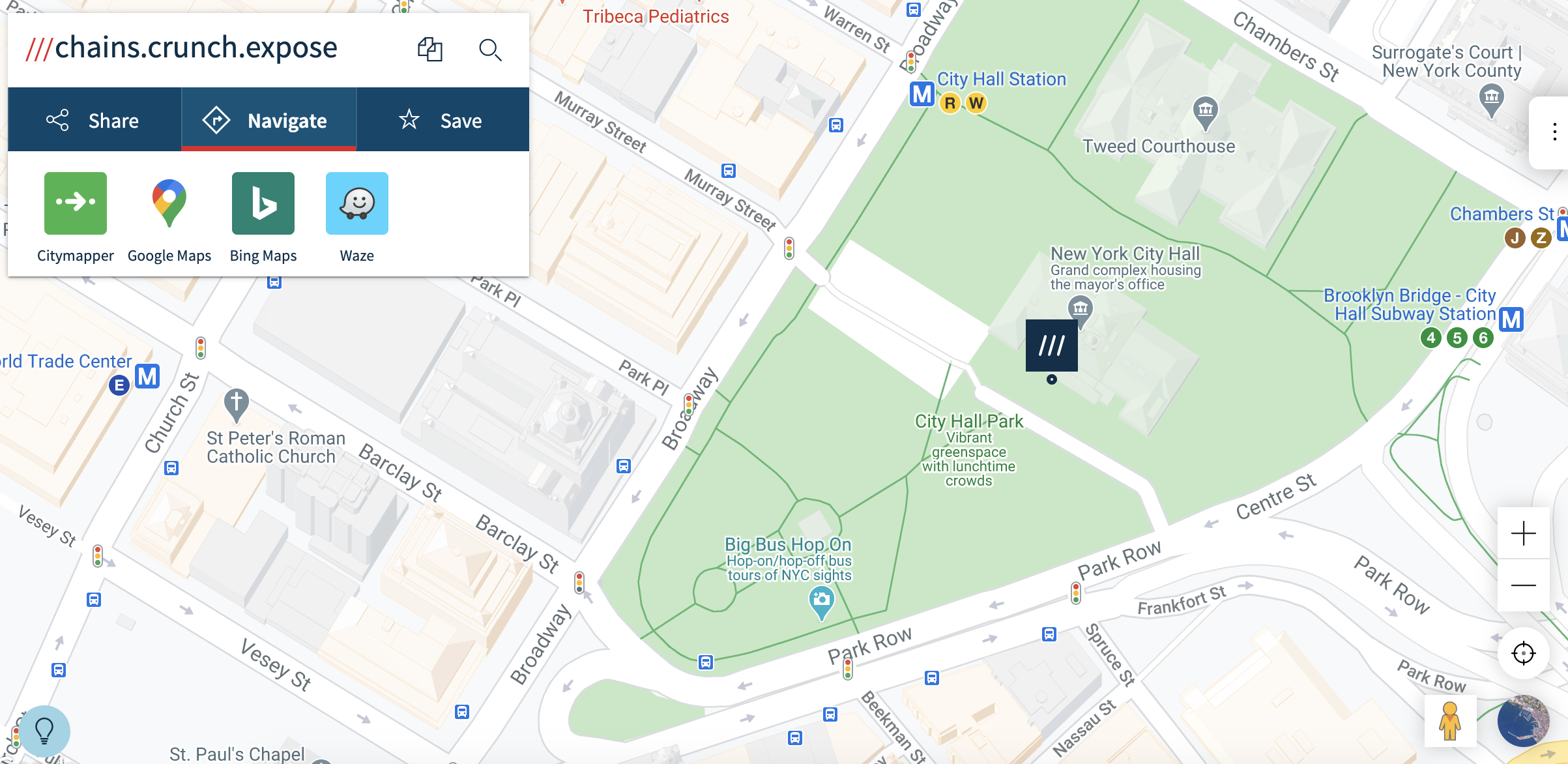 a map with New York City Hall on it and a connection to other apps to use to navigate