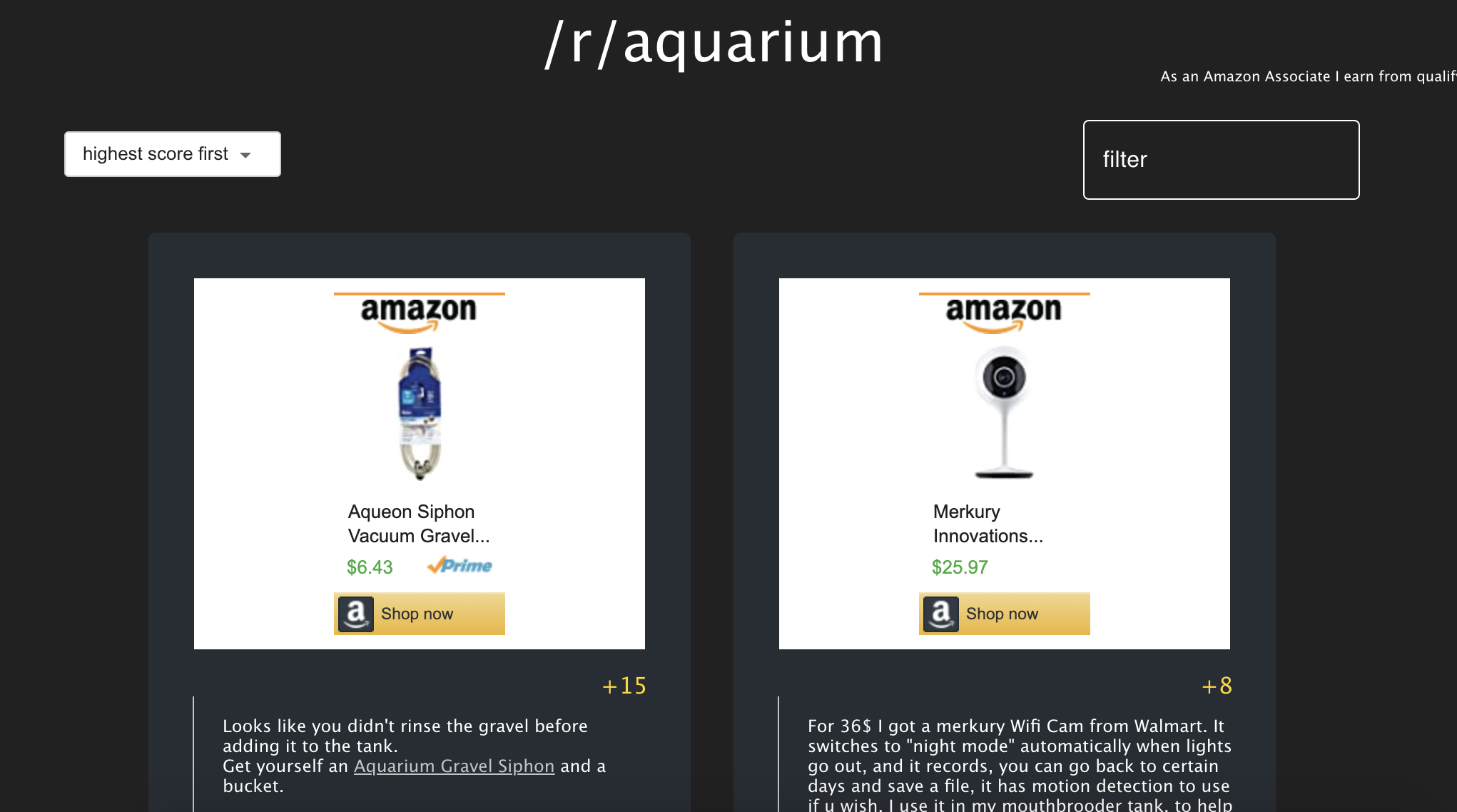 picture of amazon aquarium products with how many upvotes they got on Reddit