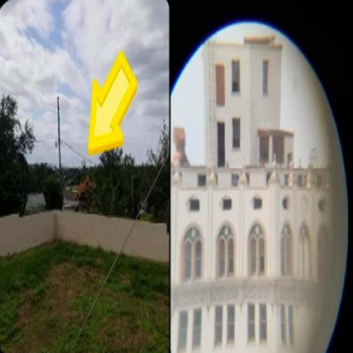 Reviewer's before-and after showing how far a building is in real life and the closeup view from the telescope