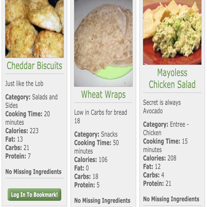 three recipes for chicken and bread based dishes