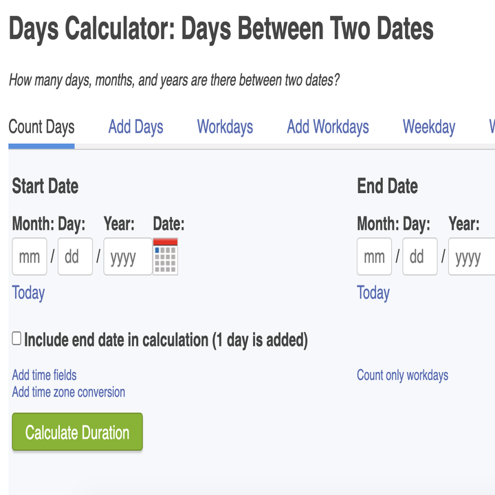 calculator where you put in two dates and find out how many days are between them