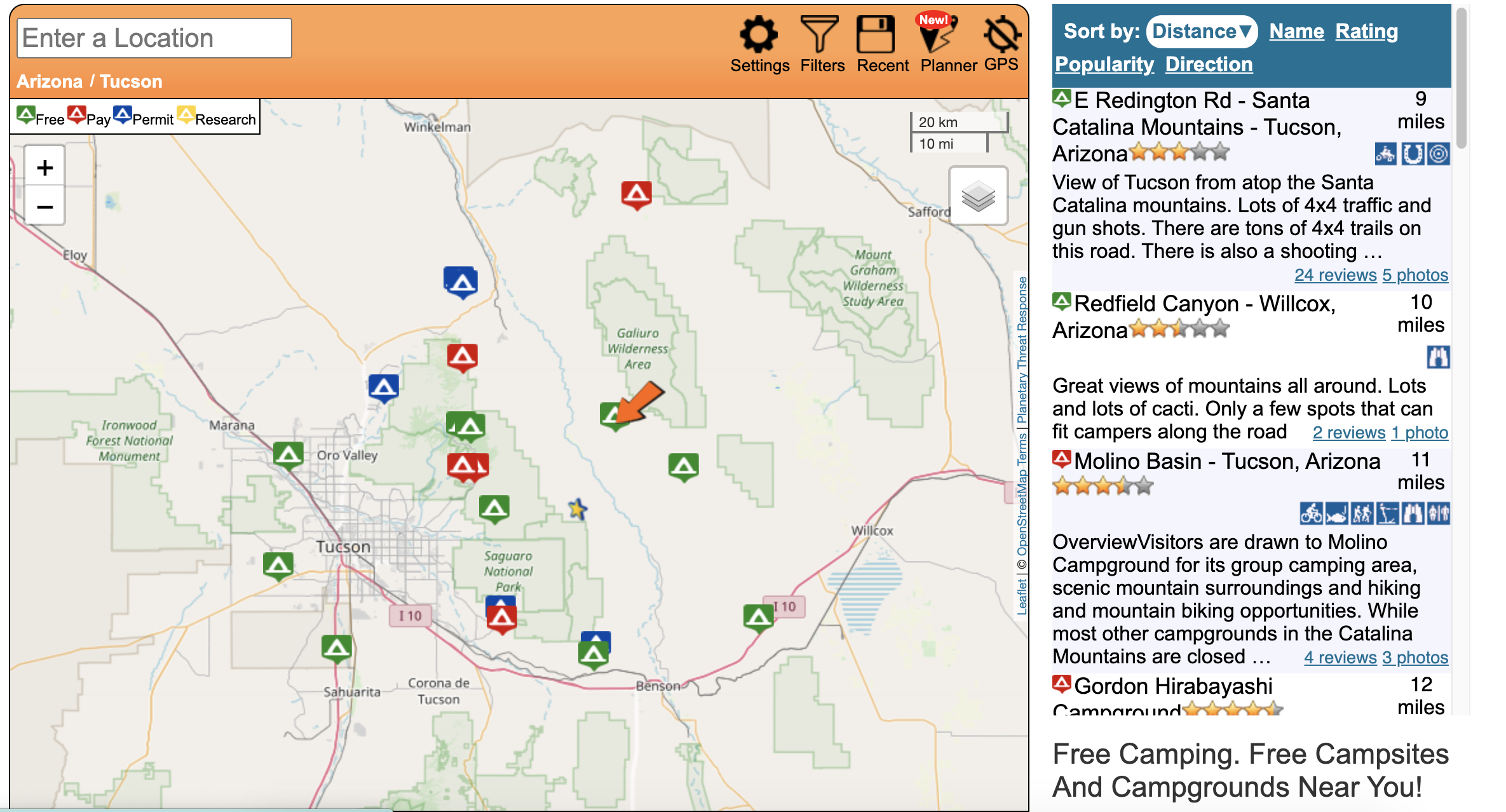 map with little icons of campsites and reviews on the right side