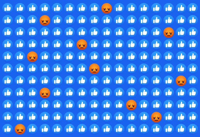 """Facebook's """"like"""" reaction emojis are seen with """"angry"""" reaction emojis interspersed throughout"""