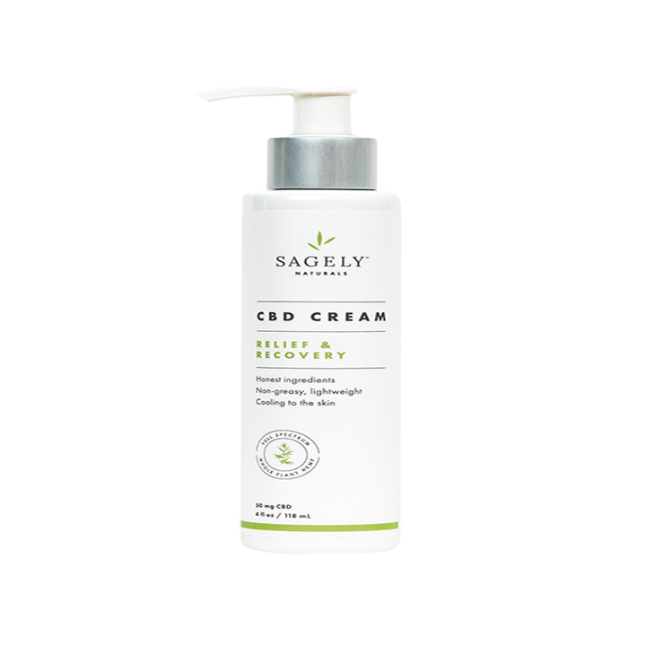 A white pump bottle of Sagely Naturals Relief and Recovery CBD Cream