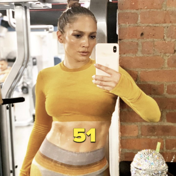 Jennifer Lopez in a post-workout selfie