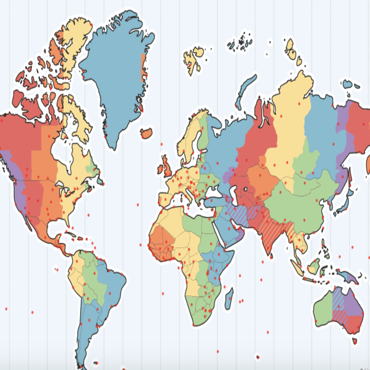 world map color coded into time zones