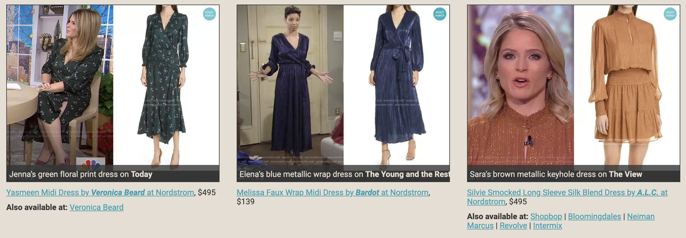 three different women in dresses with stock photos of the dresses next to them