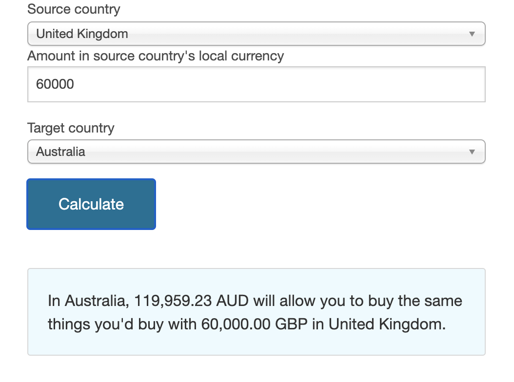area to put source and target country with an amount in local currency, where you can then calculate how much money you would need to have the same income as that in the target country