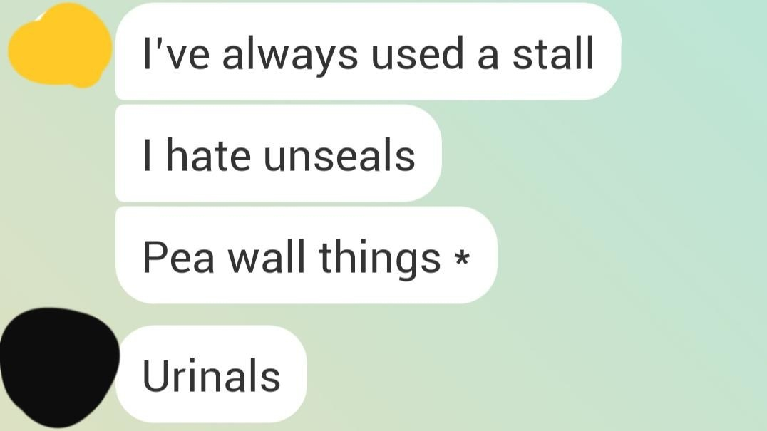 person who can't remember the name of urinals and calls them pea wall things
