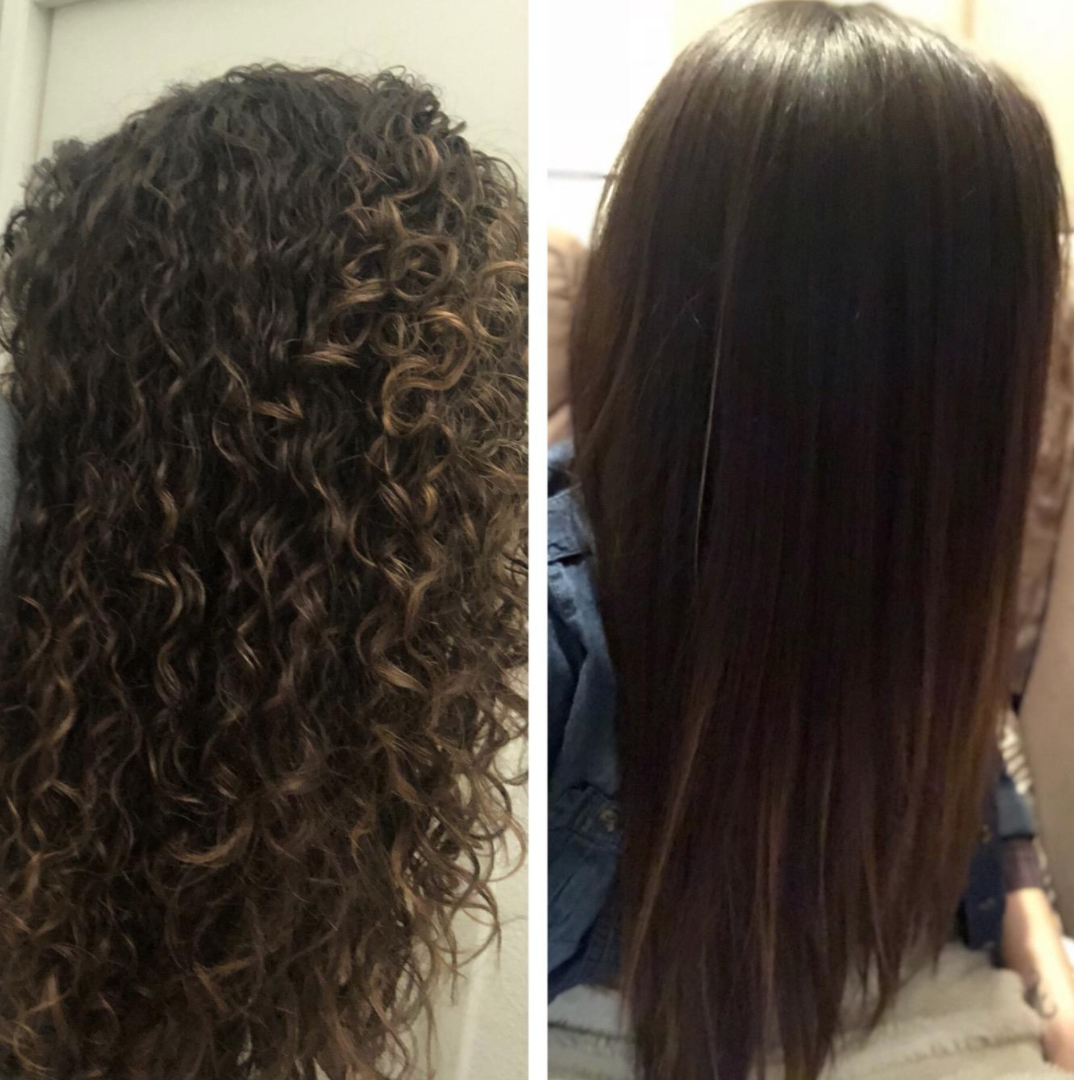 A reviewer's curly hair before using the product // A reviewer's pin-straight hair with the product