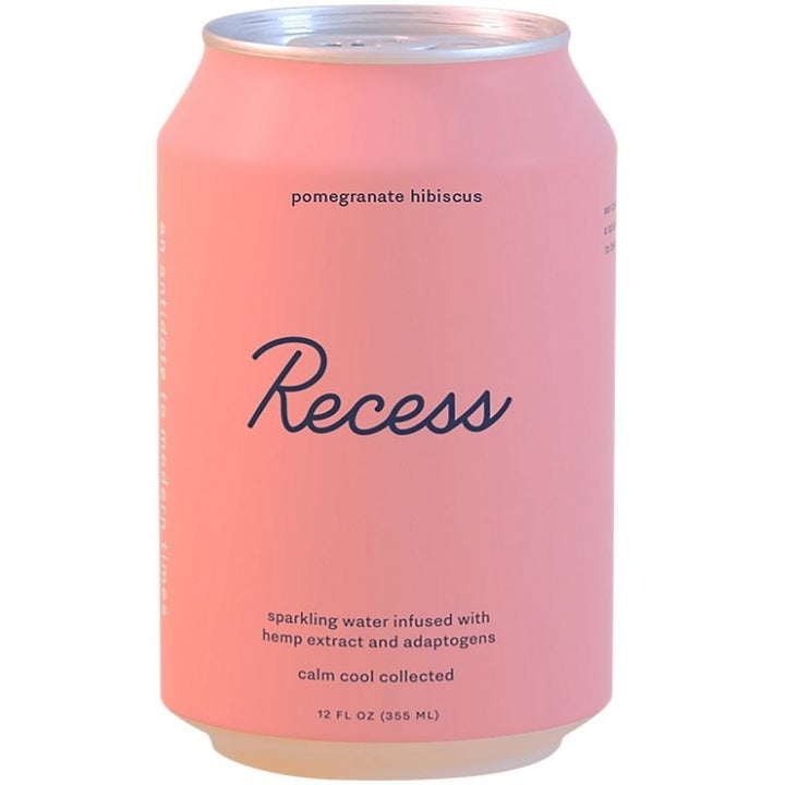 A light pink can of Recess Sparkling Water Infused with Hemp Extract in Pomegranate Hibiscus