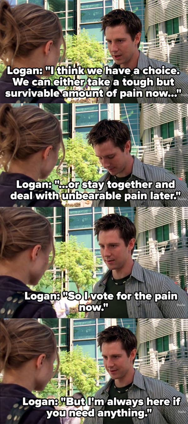 "Logan says they can either take a ""tough, but survivable amount of pain now"" or stay together and deal with unbearable pain later"" so he votes for the pain now"