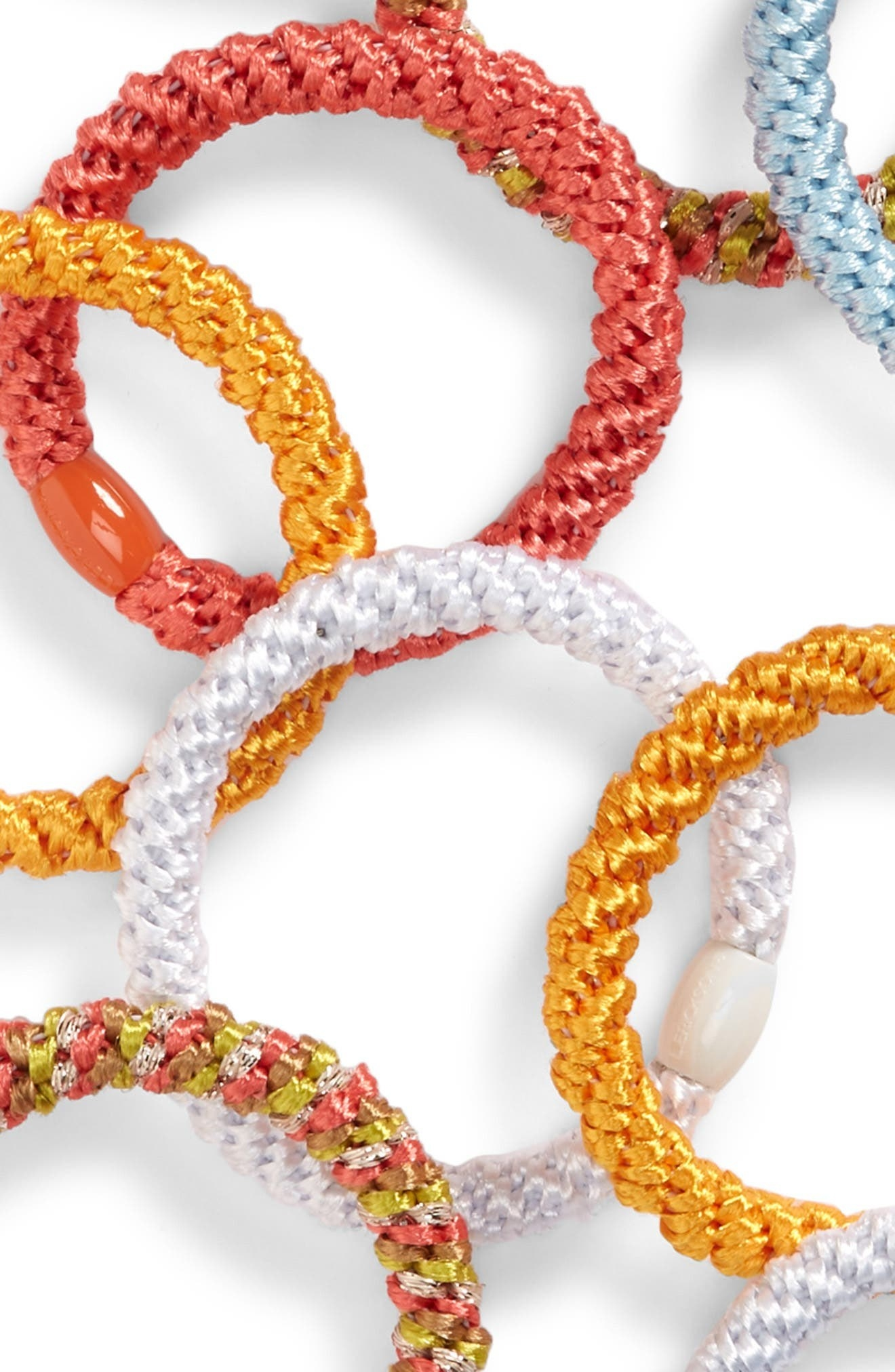 the hair tie set with white and yellow and multi-color options
