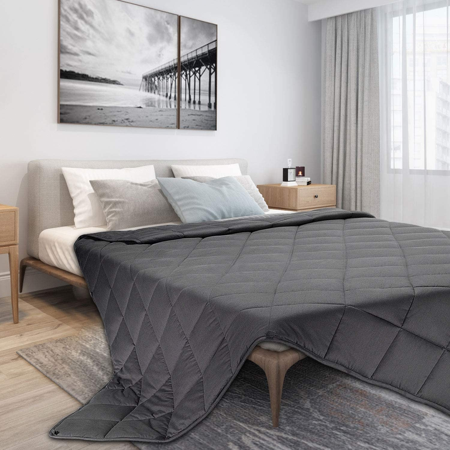 The weighted blanket on a bed