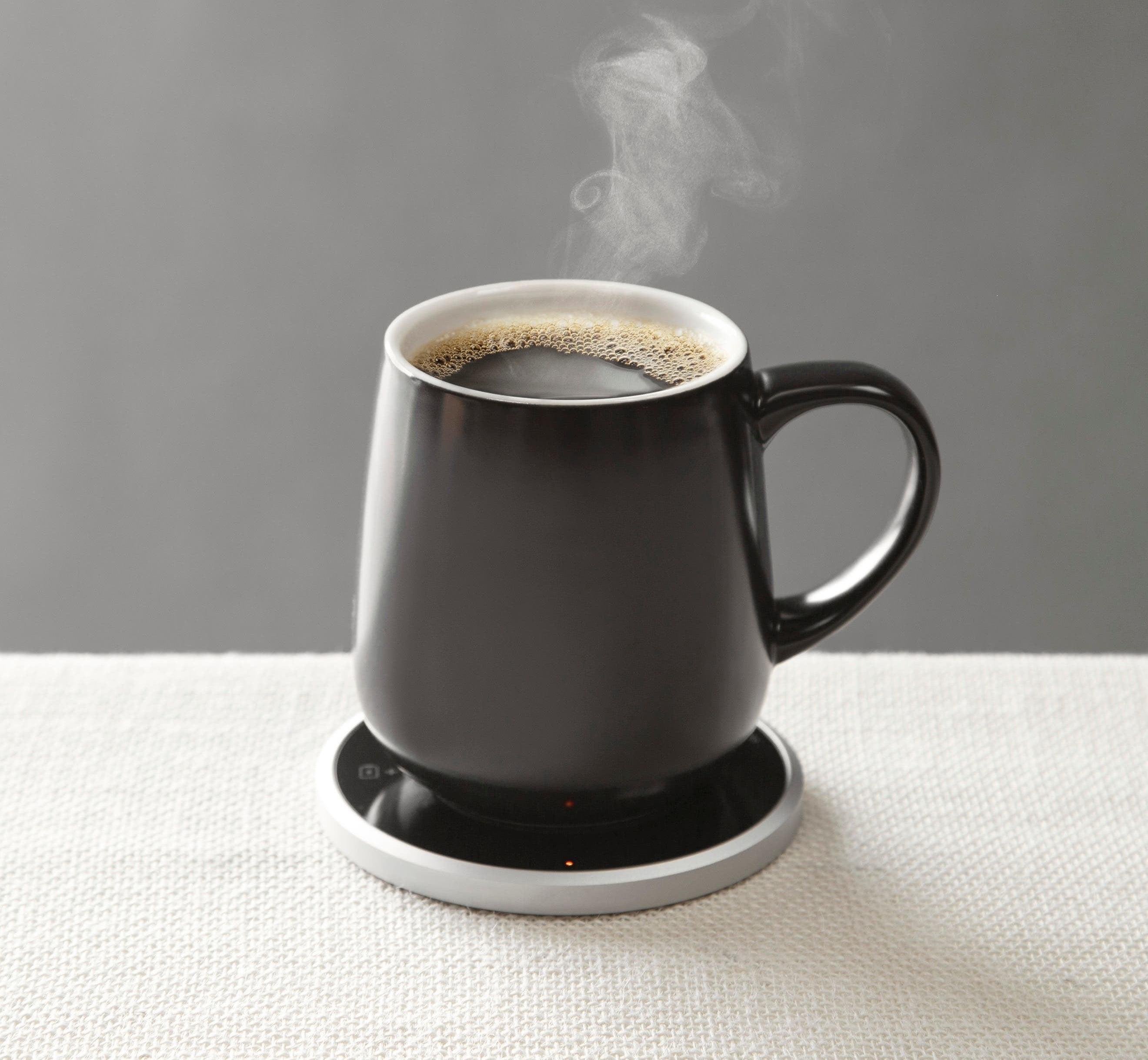 a coffee mug on the heating plate