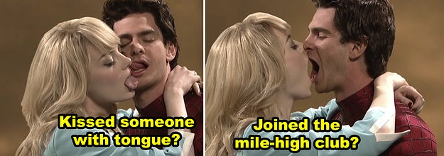 Emma Stone and Andrew Garfield kissing each other awkwardly during a sketch on