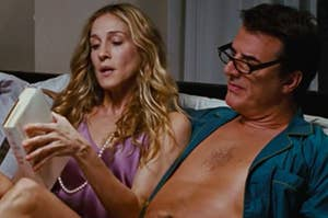 Carrie and Big from SATC reading in bed