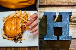 On the left, a bacon cheeseburger on a plate with fries, and on the right, the letter H