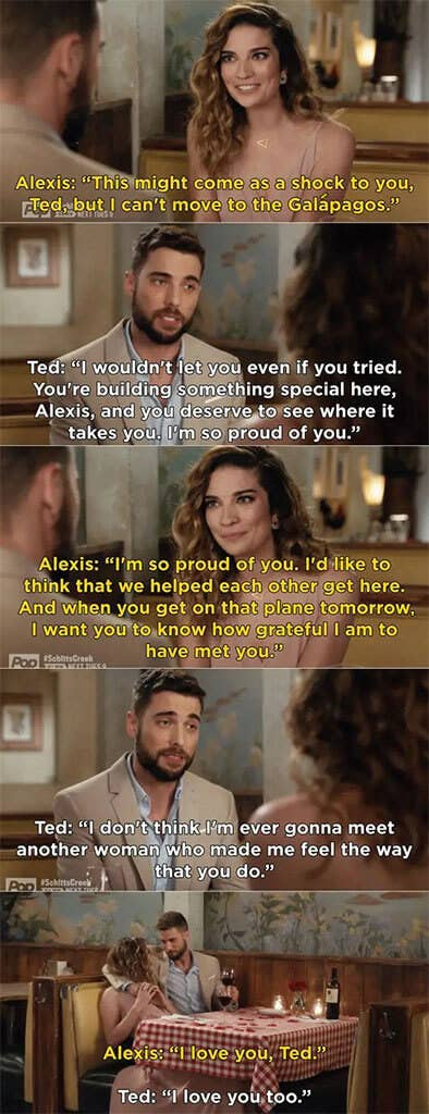 Alexis says she can't move with Ted, and he says he wouldn't let her anyways, since she's building something special and he's proud of her. They both say they love and are grateful to each other