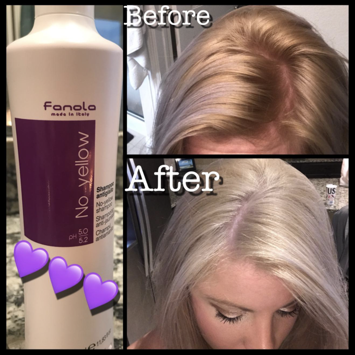A reviewer's diagram of the bottle, their brassy hair before using the product, and ashy tresses after using the product
