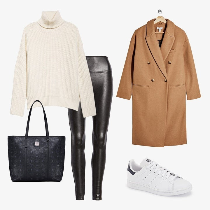 variety of women's clothing including leggings, a sweater, a pea coat, a purse, and fashion sneakers