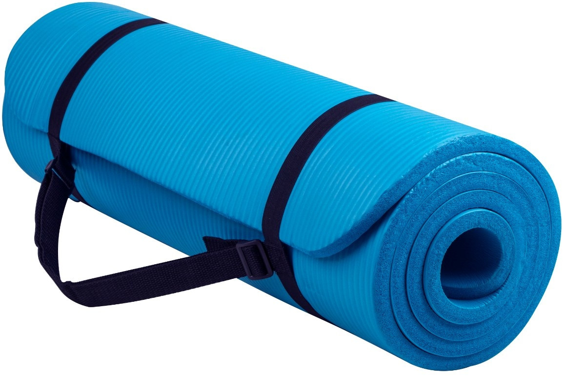 The yoga mat in blue