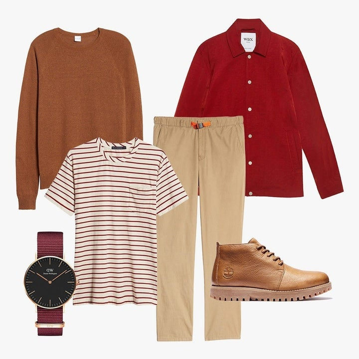variety of men's clothing including pants, a tee, a sweater, a button up, a watch, and boots