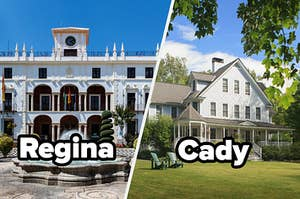 """Mansion with the word """"Regina"""" and suburban house with the word """"Cady"""""""
